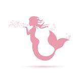Vector logo mermaid blowing
