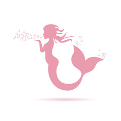 Vector logo mermaid blowing