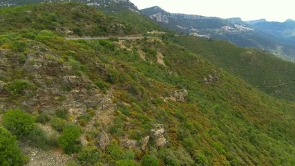 flying over macchia landscape in sardinia