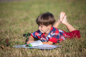 child boy with the book on a glade
