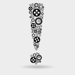 Exclamation mark of gears. Vector illustration