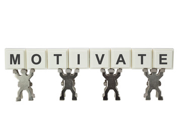 Group of figurines with the word MOTIVATE isolated