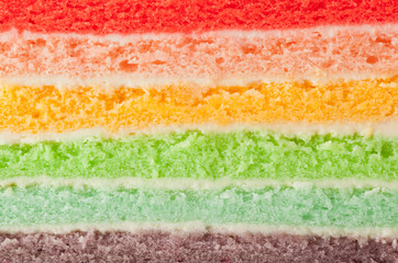 Closeup of the different layers of a rainbow cake