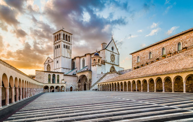 Basilica of St. Francis of Assisi at sunset, Assisi, Italy