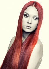 Woman with long red hair
