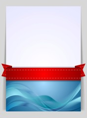 Wavy background flyer with red ribbon