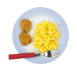Mac and cheese with chicken nugget meal
