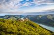 Wachau landscape with Danube river and old castle, Austria