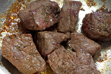 Cooked beef sirloin tips in frying pan