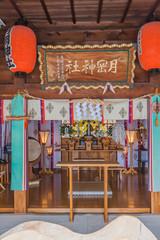 上山城跡に鎮座する月岡神社の拝殿