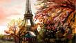 Street in paris. Eiffel tower -  illustration - 70076559