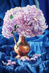 Pink hydrangea flowers in a vintage jug on a blue background .