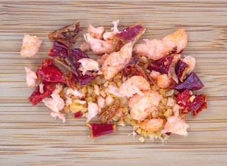 Dried shrimp pieces and seasoning for soup base