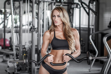 workout with olympic curl bar