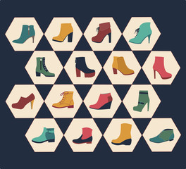 icons set of fashion  Footwear autumn collection-illustration