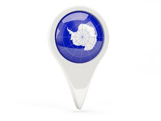 Round flag icon of antarctica