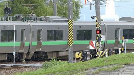 踏み切りを通過するローカル列車