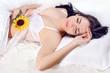 Beautiful girl sleep with flower