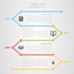Colorful timeline infographic template vector with icons
