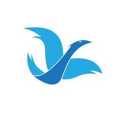 Vector logo bird in flight
