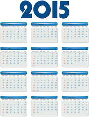 English calendar of 2015 year