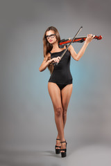 sexy girl with a violin