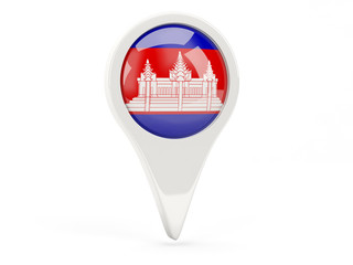 Round flag icon of cambodia