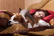 sleeping woman and its dog