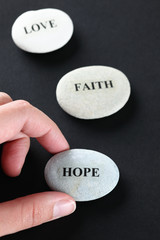 Hope, Faith and Love stones