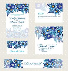 Wedding invitation set with vintage flowers