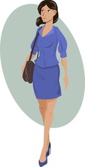 Woman in blue with bag