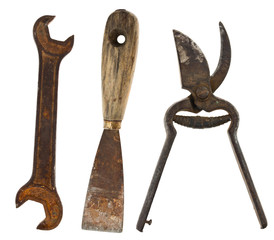 Old isolated tools:putty knife, wrenches, scissors for metal
