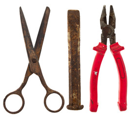 Old isolated tools:scissors, chisel, pliers