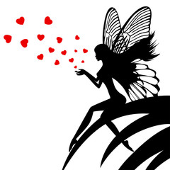 Silhouette fairy girl