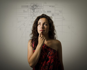 Young woman and city map.
