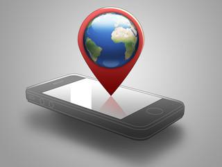 Smartphone pointer pianeta terra