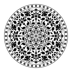 Ornamental round floral pattern. Vector illustration