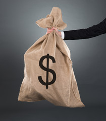 Businessman Carrying Moneybag With Dollar Sign