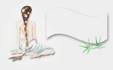illustration of spa stone with bamboo leaves and lilia.