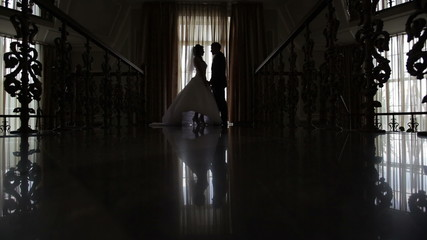 silhouettes of the bride and groom in the hall in front of the w