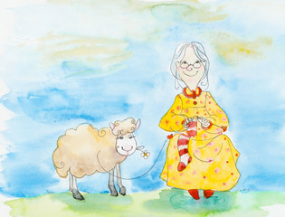 Old woman knits a sock, & lamb on a meadow.