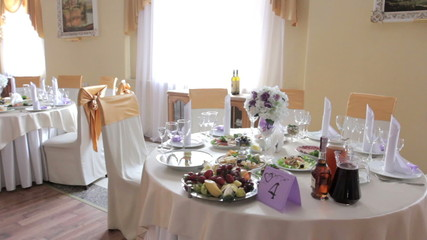 beautifully served wedding table in the restaurant