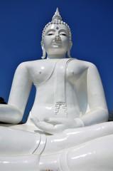Image white buddha statue in temple of Kanchanaburi Thailand