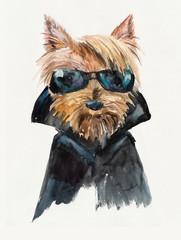 Dog in sunglasses. Yorkshire terrier. Cool guy, biker.