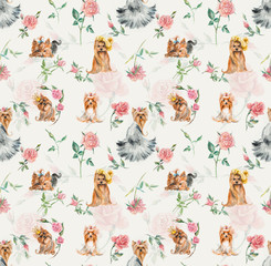 Seamless dogs with a rose. Yorkshire terriers.