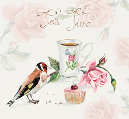 Tea Time. Goldfinch pecks cake. Cup with tea and a rose branch.