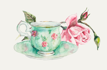 Tea Time Card. Cup with tea and a rose branch.