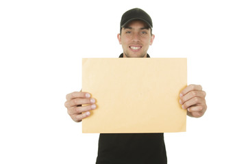 happy friendly confident delivery man holding manila envelope