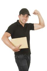 handsome brunette courier man holding packages