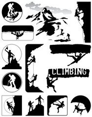 Climbers icons vector collection in black and white
